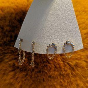 Anthropologie Gold Chain Earrings